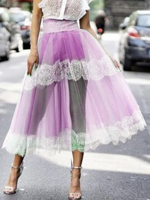Purple Patchwork Grenadine Lace High Waisted Fluffy Puffy Tulle Party Long Skirt