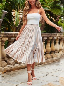 Light Pink Patchwork Pleated Draped Elastic High Waist Elegant Casual Midi Skirt