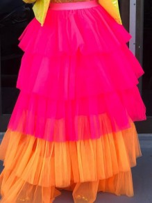 Rose Carmine Cascading Ruffle Fluffy Puffy Wedding Gowns Homecoming Bridesmaid Party Long Skirt