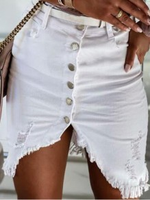 White Single Breasted Irregular Ripped Distressed Pockets High Waisted Short Skirt