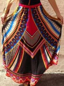 Red Tribal Flora Drawstring High Waisted Bohemian Beach Skirt