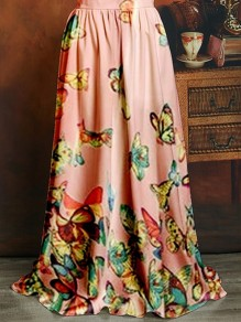 Light Pink Butterfly Print High Waisted Bohemian Beach Skirt