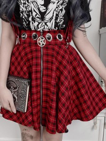 Red Plaid Zipper High Waisted Party Skate Overall Skirt