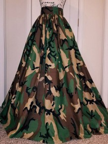 Army Green Camouflage Pleated Big Swing Plus Size High Waisted Long Skirt