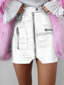 White Zipper PU Leather Latex High Waisted Bodycon Clubwear Short Skirt