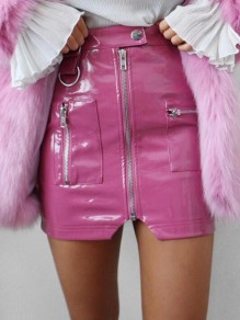 Pink Zipper PU Leather Latex High Waisted Bodycon Clubwear Short Skirt