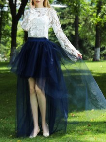 Navy Blue Patchwork Grenadine Irregular High-Low Fluffy Puffy Tulle Party Skirt