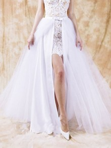 White Patchwork Grenadine Bow Removable Fluffy Puffy Tulle Skirt