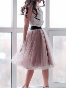 Lotus Pink Pleated Grenadine Plus Size High Waisted Bride Prom Party Tulle Tutu Skirt