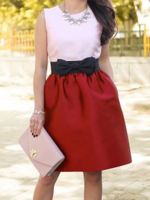 Red Patchwork Bow Pockets High Waisted Sweet Skirt