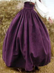 Purple Patchwork Belt Pleated High Waisted Vintage Halloween Long Skirt