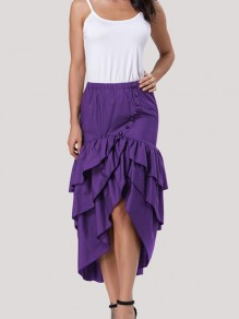 Purple Cascading Ruffle Bow High Waisted High-low Vintage Skirt