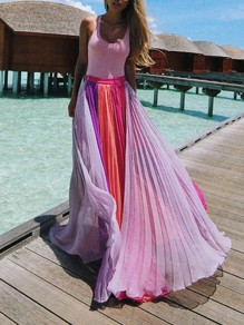 Pink Rainbow Patchwork Pleated Flowy Chiffon High Waisted Bohemian Beach Maxi Skirt