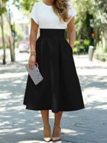 Black Pockets High Waisted Elegant Skater A-line Skirt