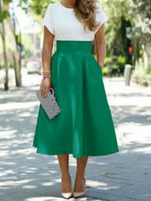 Green Pockets High Waisted Elegant Formal Skater A-line Midi Skirt