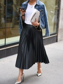 Black Pleated High Waisted Elegant Maxi Skirt