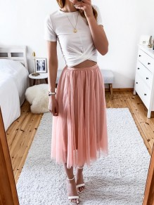 Pink Grenadine Pleated High Waisted Fashion Tutu Midi Skirt