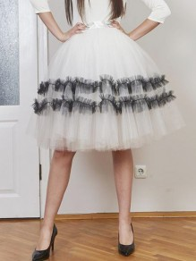 White Black Patchwork Grenadine Pleated High Waisted Fluffy Puffy Tulle Skirt