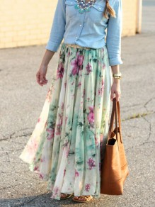 Green Floral Print Draped Chiffon High Waisted Bohemian Skirt