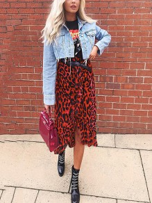 Red Leopard Print Chiffon Ruffle Falbala Slit High Waisted Casual Midi Skirt