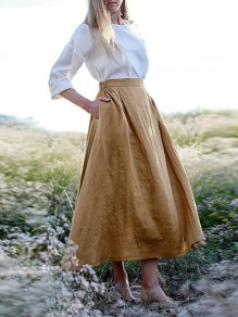 Khaki Patchwork Pockets Linen Cotton Elastic Waist Elegant Skirt