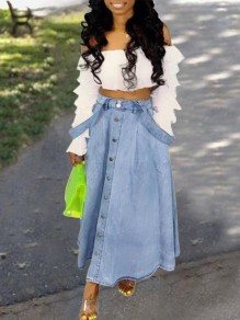 Light Blue Pockets Single Breasted A-Line Going Out Denim Maxi Overall Skirt