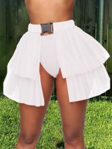 White Patchwork Layers Of Grenadine Buckle Belt Slit High Waisted Hot Clubwear Adorable Tulle Tutu Mini Skirt