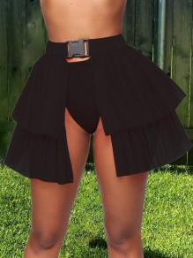 Black Patchwork Layers Of Grenadine Buckle Belt Slit High Waisted Hot Clubwear Adorable Tulle Tutu Mini Skirt