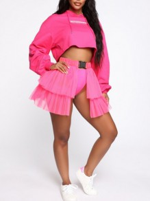 Neon Pink Patchwork Layers Of Grenadine Buckle Belt Slit High Waisted Hot Clubwear Adorable Tulle Tutu Mini Skirt