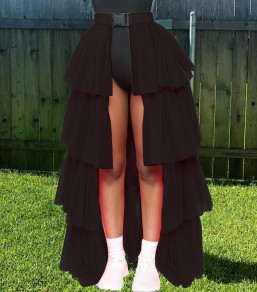 Black Patchwork Layers Of Grenadine Buckle Belt Slit High Waisted Hot Clubwear Adorable Tulle Tutu Maxi Skirt