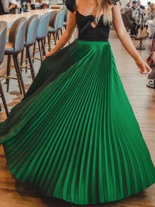 Green Pleated High Waisted Elegant Long Skirt
