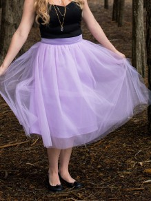 Purple Patchwork Grenadine Adorable Tutu Knee Length Fashion Skirt