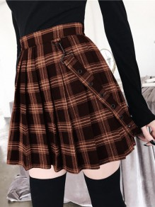 Brown Plaid Print Pleated Shoulder-Strap High Waisted Boyfriend Cute Overall Skirt