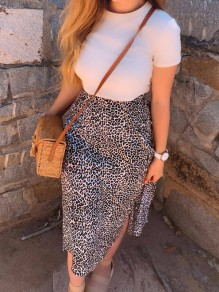 Brown Leopard Slit High Waisted Elastic Waist Elegant Skirt