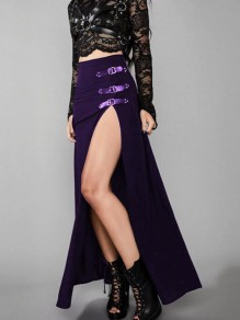 Purple Irregular Belt Side Slit High Waisted Witchcraft Gothic Long Skirt