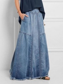 Blue Patchwork Pockets Vintage Ankle Length Plus Size Fashion Skater Denim Skirt