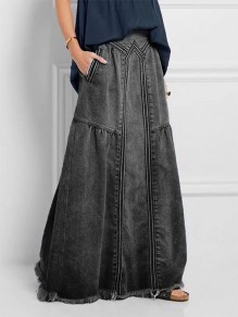Grey Patchwork Pockets Vintage Ankle Length Fashion Denim Skirt