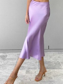Purple Satin High Waisted Bodycon Elegant Skirt