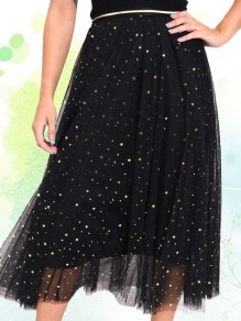 Black Stars Sequin Grenadine Pleated High Waisted Fashion Skirt