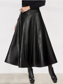 Black PU Leather Vinly Draped High Waisted Big Swing Elegant A-line Midi Skirt