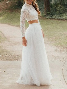 White Patchwork Grenadine Adorable Tutu High Waisted Sweet Wedding Gowns Prom Tulle Maxi Skirt