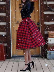 Red Black Buffalo Plaid Flannel High Waisted Retro Christmas Party A-line Skirt