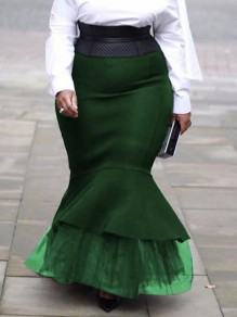 Green Patchwork Grenadine Ruffle Mermaid High Waisted Elegant Party Long Skirt