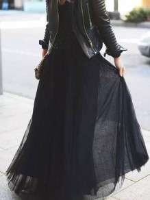 Black Draped High Waisted Chiffon Elegant Maxi Skirt
