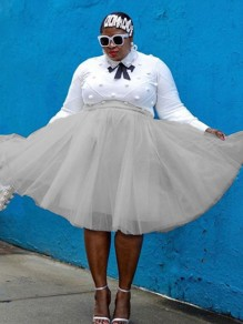 Grey Layers Of Grenadine High Waisted Pleated Tulle Tutu Plus Size Midi Skirt