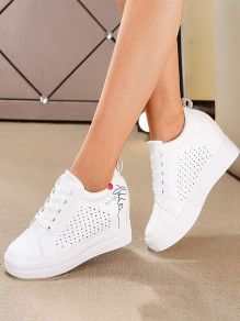 White Round Toe Flat Graffiti Cut Out Casual Shoes