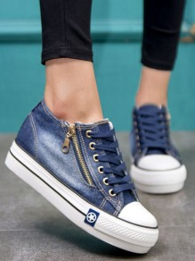 Dark Blue Round Toe Flat Zipper Casual Shoes