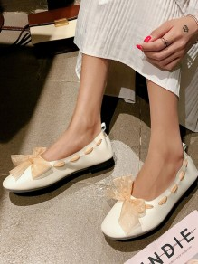 Beige Round Toe Bow Grenadine Fashion Sweet Flat Shoes