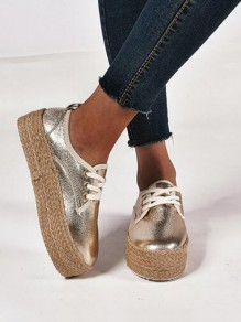 Golden Round Toe Sequin Fashion Casual Flat Shoes