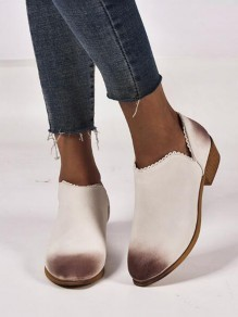 White Round Toe Fashion Casual Flat Shoes